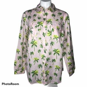 NWOT Roaman's Pink Palm Trees Print Button Blouse